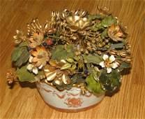 ENAMELED JANE HUCHESON GILT FLOWERS IN VASE GORHAM