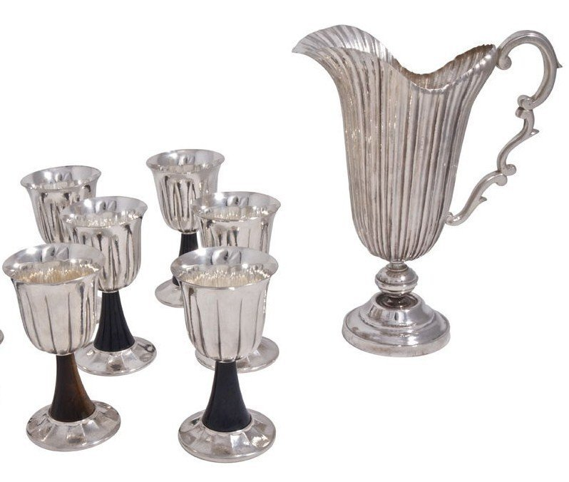 BUCCELLATI STERLING SILVER PITCHER & 6 GOBLETS