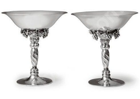 EARLY PRE WAR PAIR OF GEORG JENSEN GRAPE COMPOTES