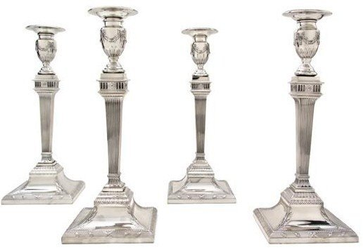 SET OF FOUR TIFFANY STERLING SILVER CANDLESTICKS