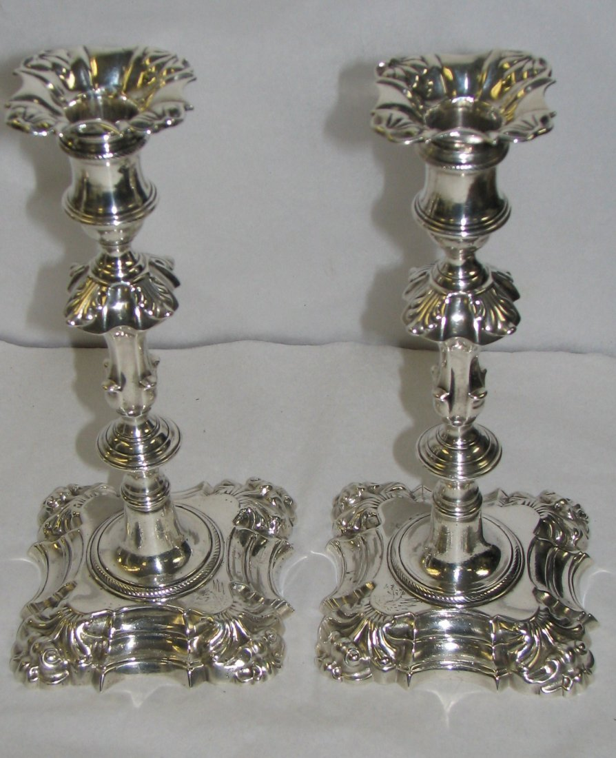 PAIR OF LONDON 1760'S CAST STERLING SILVER CANDLE STICK