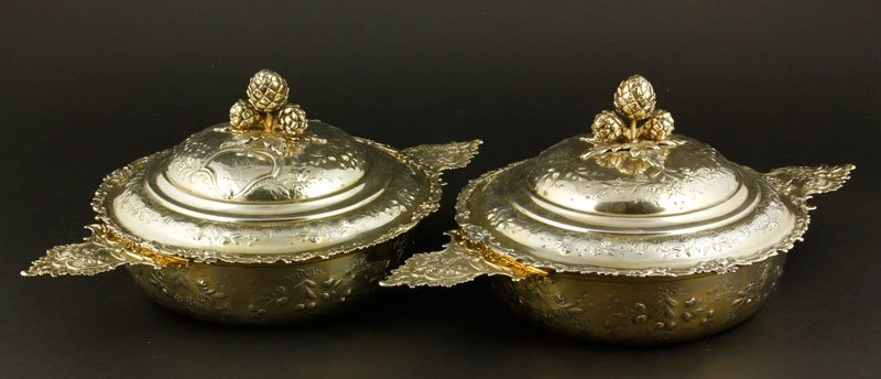 PAIR OF FRENCH 950 GILT SILVER COVERED  TUREENS