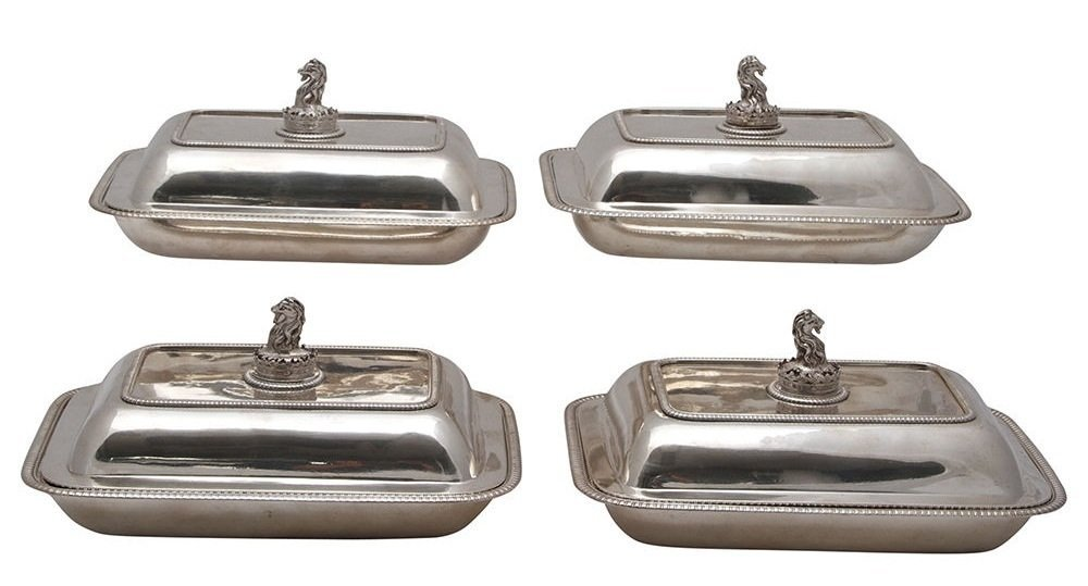 FOUR GEORGE III STERLING SILVER COVERED ENTREE DISHES