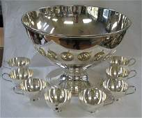 TIFFANY STERLING SILVER PUNCH BOWL & CUPS