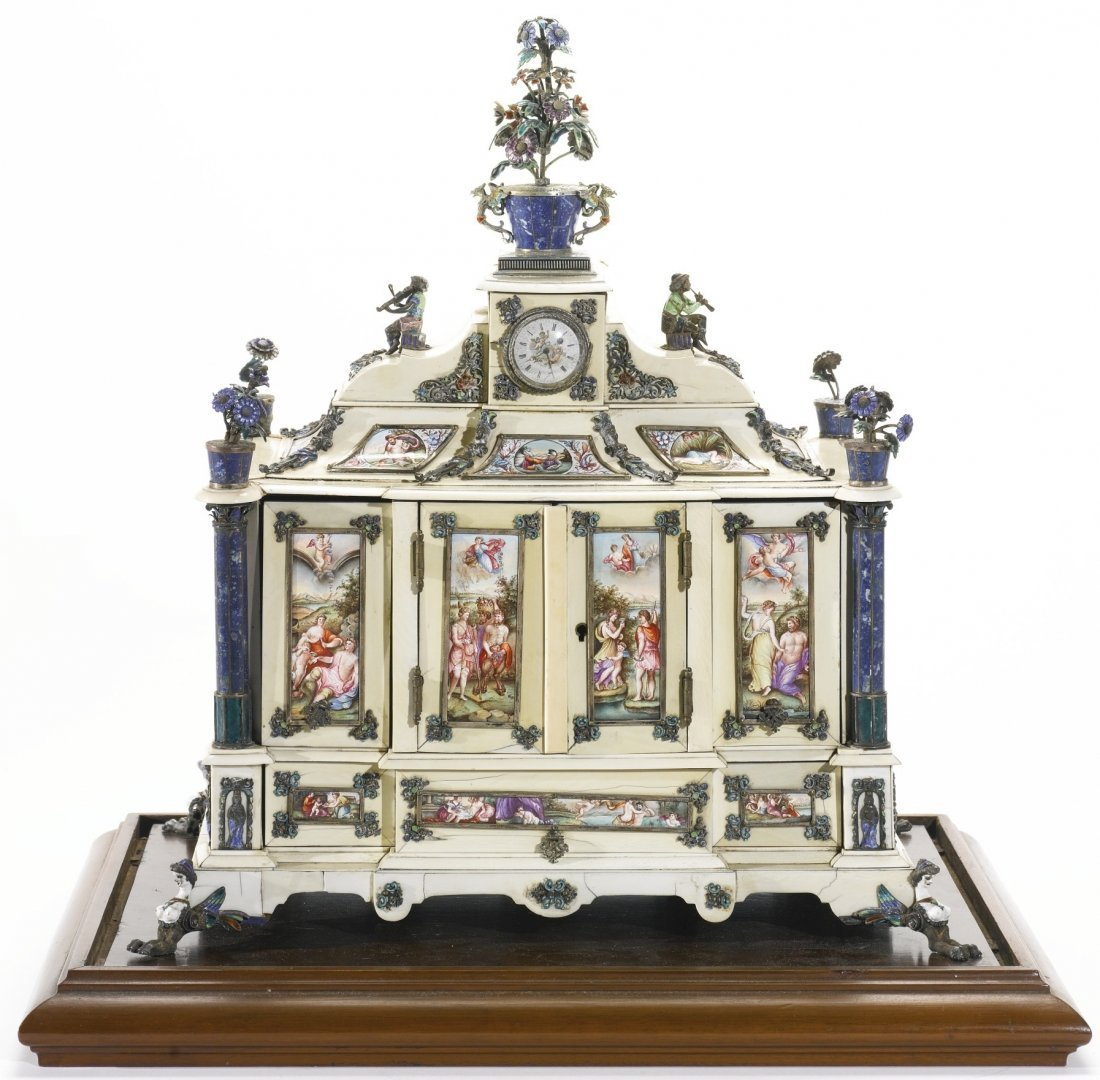 AUSTRIAN SILVER ENAMEL LAPIS & IVORY CLOCK CABINET