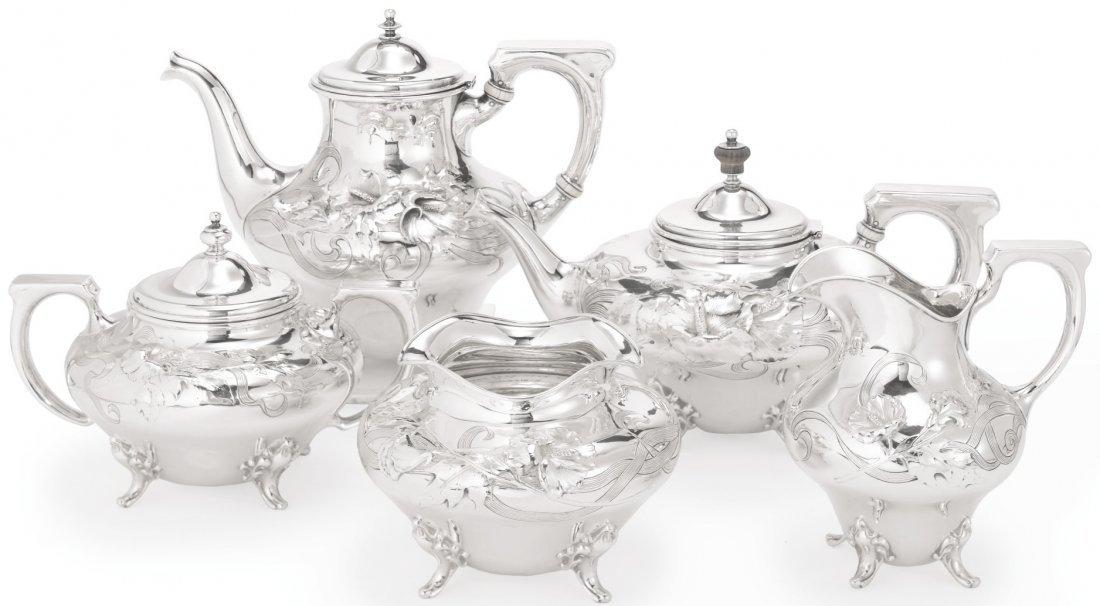 ART NOUVEAU STERLING SILVER TEA & COFFEE SET