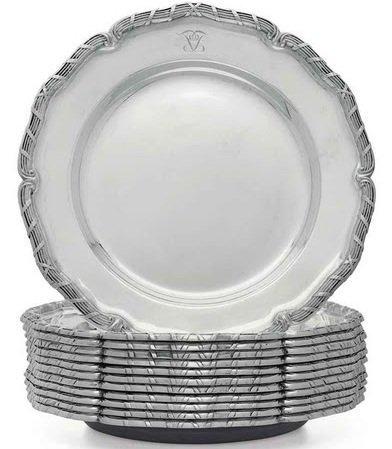 12 SWEDISH SILVER DINNER PLATES K. ANDERSON 323 OZS.