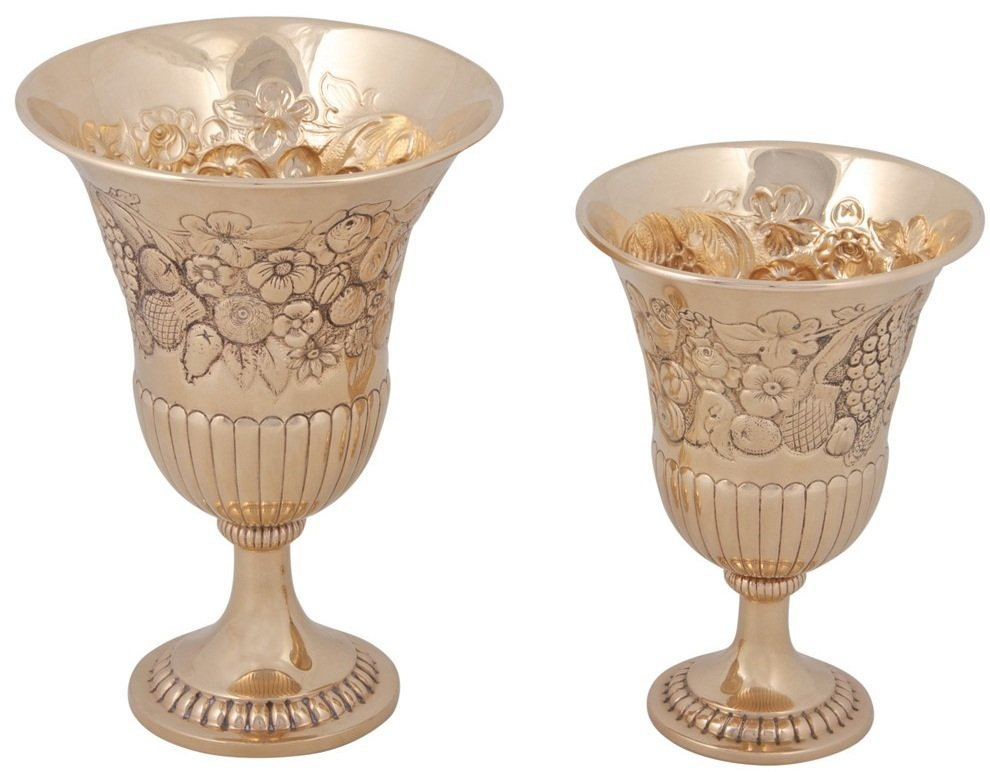 14K GOLD FOOTED GOBLETS / KIDDUSH CUPS