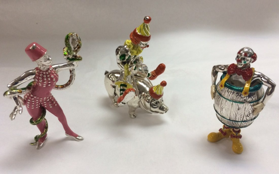4 PC TIFFANY ENAMELED STERLING CIRCUS CLOWNS & FIGURES