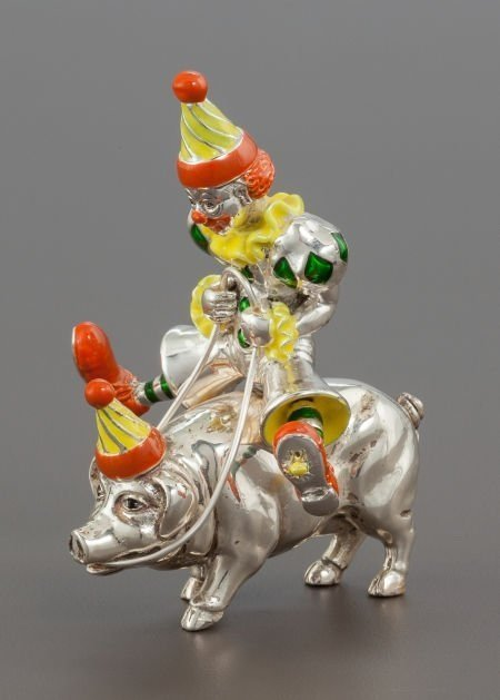 4 PC TIFFANY ENAMELED STERLING CIRCUS CLOWNS & FIGURES - 5