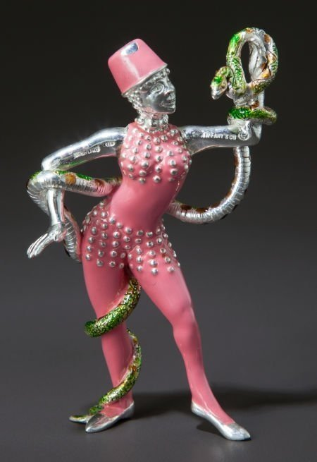 4 PC TIFFANY ENAMELED STERLING CIRCUS CLOWNS & FIGURES - 8