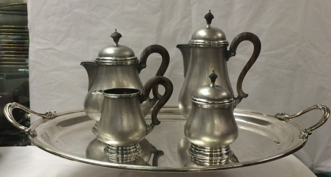 BUCCELLATI STERLING SILVER LARGE TEA SET WITH TRAY