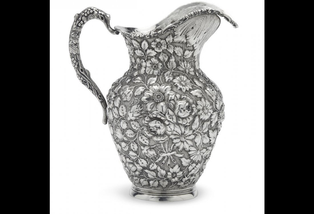 STIEFF BALTIMORE ROSE REPOUSSE STERLING SILVER PITCHER