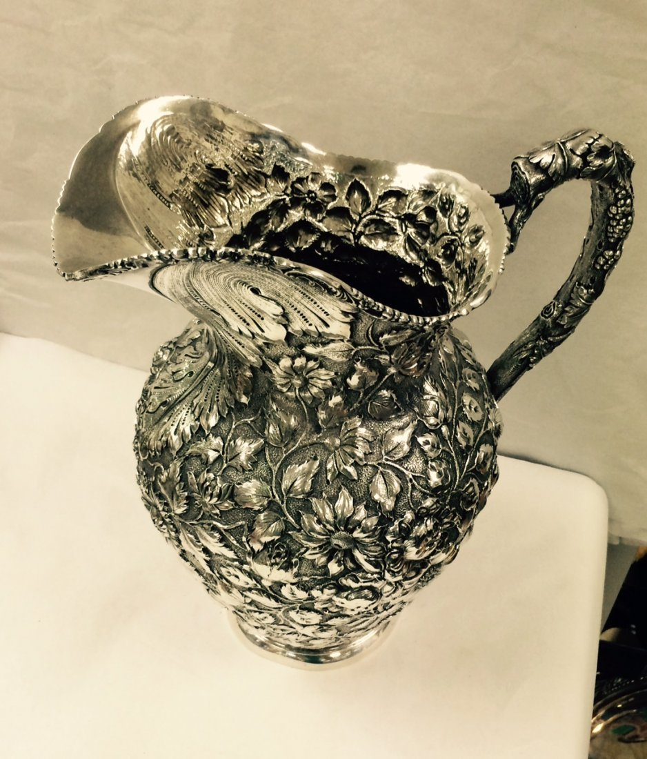 STIEFF BALTIMORE ROSE REPOUSSE STERLING SILVER PITCHER - 4