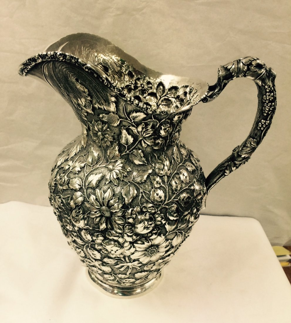 STIEFF BALTIMORE ROSE REPOUSSE STERLING SILVER PITCHER - 5