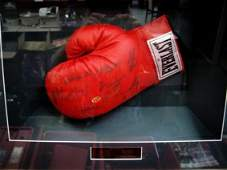 134: Boxing glove sigd by 9 world champs COA