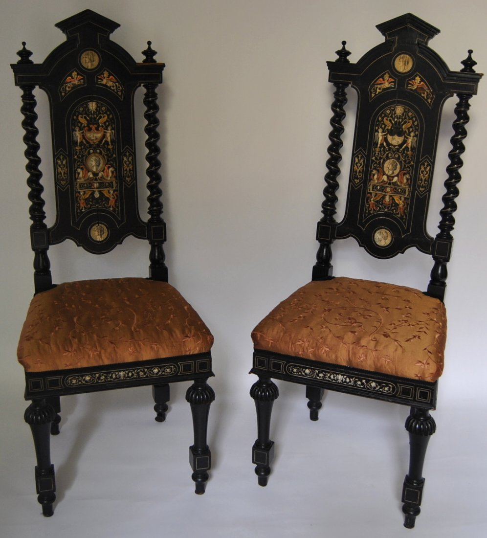8: Pair of Gothic Inlaid Side Chairs