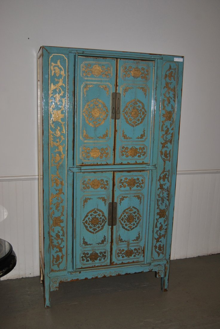 11: Moroccan-style Hutch in Blue & Gold Paint