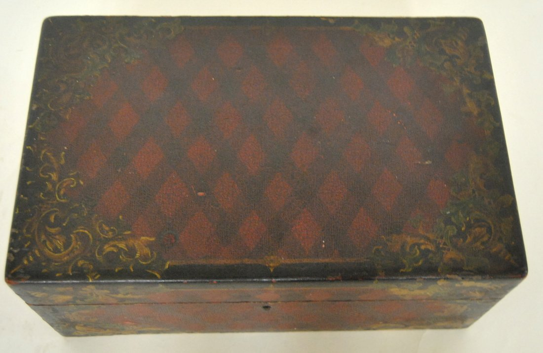 12: Painted Lift-top Box in Original Decorative Black &