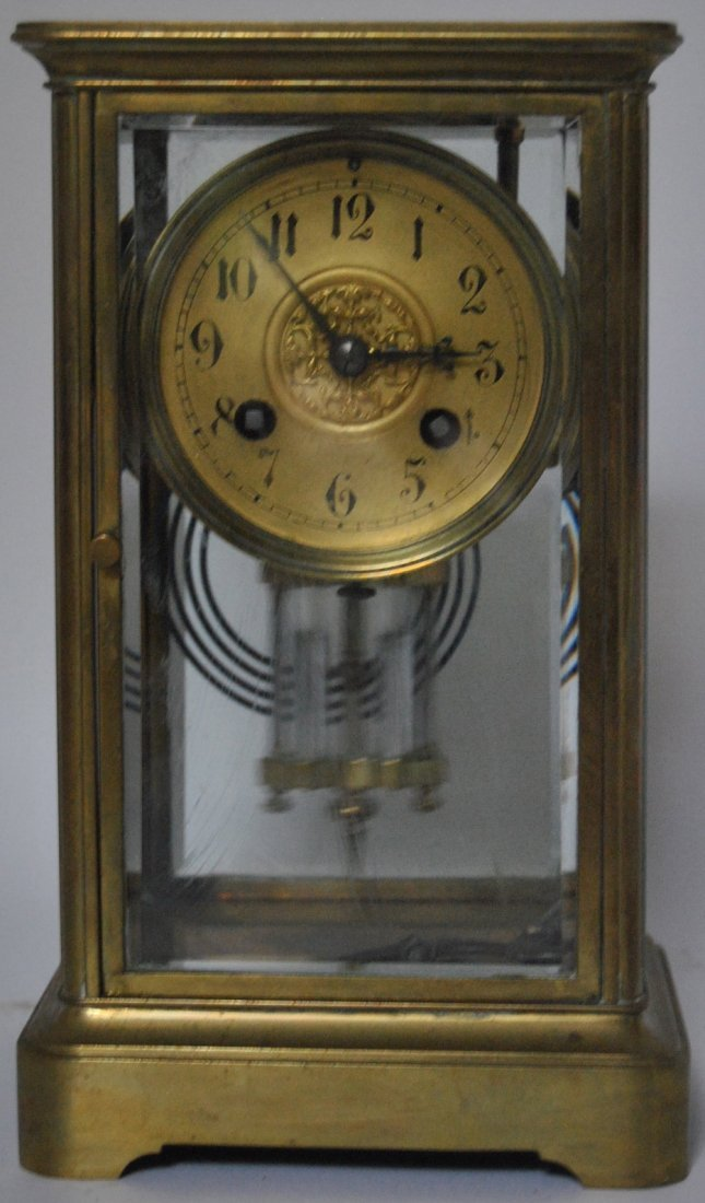 15: French Brass & Glass Mantle Clock - Spaulding & Co.