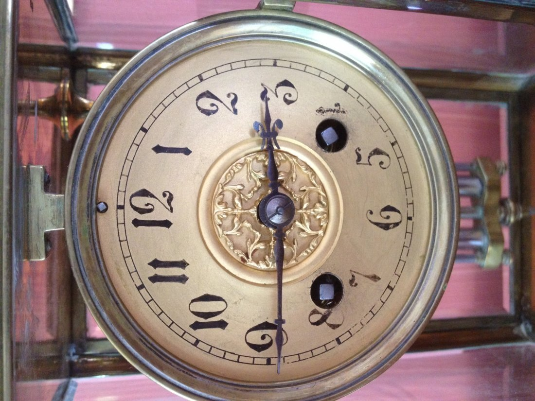 15: French Brass & Glass Mantle Clock - Spaulding & Co. - 4