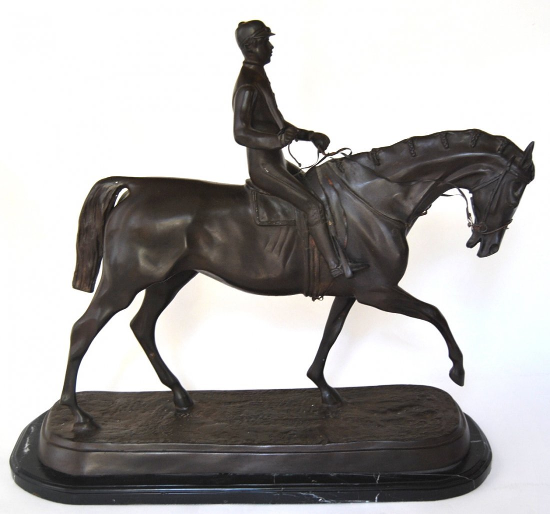 "100: Large Horse Bronze Signed ""P.J. Mene"""