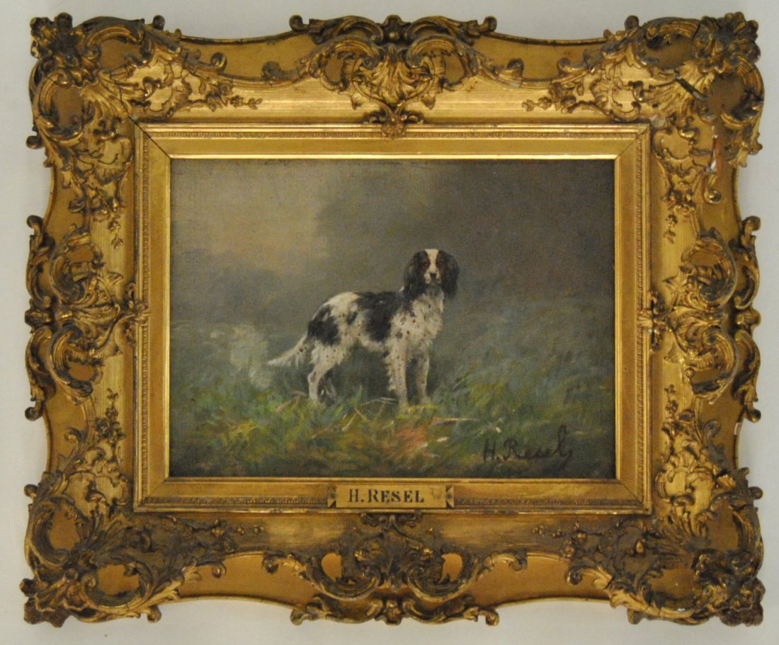 """197: Oil on Canvas of Dog in Gold Gilt Frame - Signed """""""