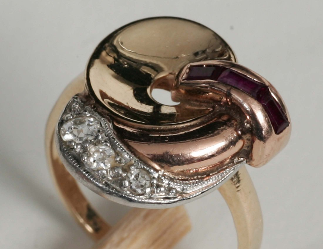 266: Art Deco Rose, Yellow and White Gold Ladies Ring