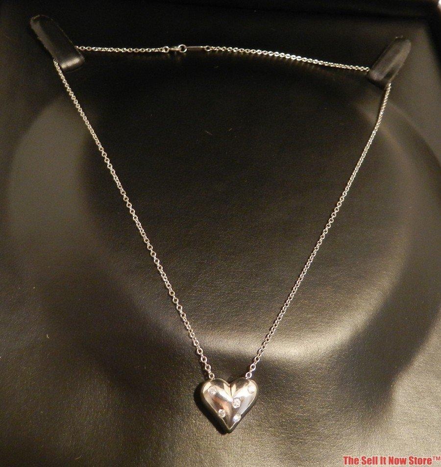 2101: Tiffany & Co Platinum Etoile Heart Necklace