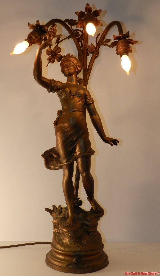 4109: 19th Century Bronzed Sculture Lady Lamp