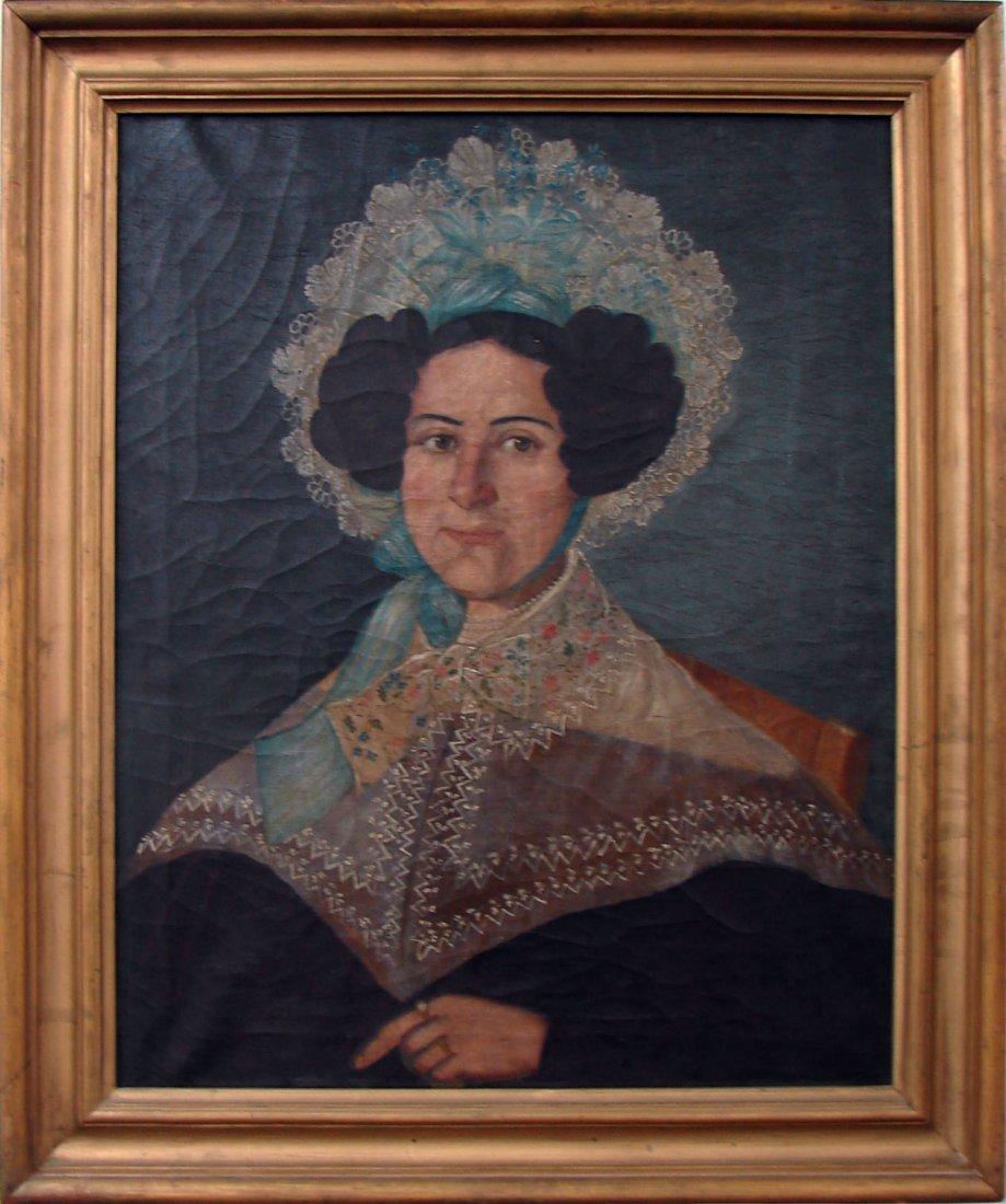 5102: 19th C American Unknown Folk Artist Formal Woman