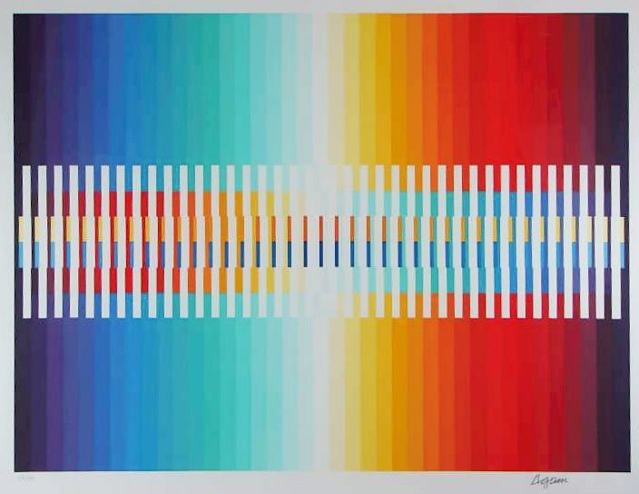 """5109: """"Integrated Rainbow"""" Lithograph by Yaacov Agam"""