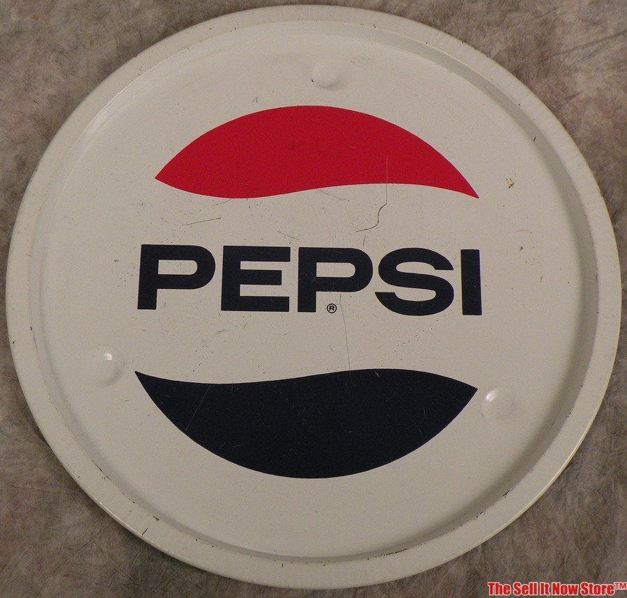 1970s Pepsi Cola Round Metal Serving Soda Tray