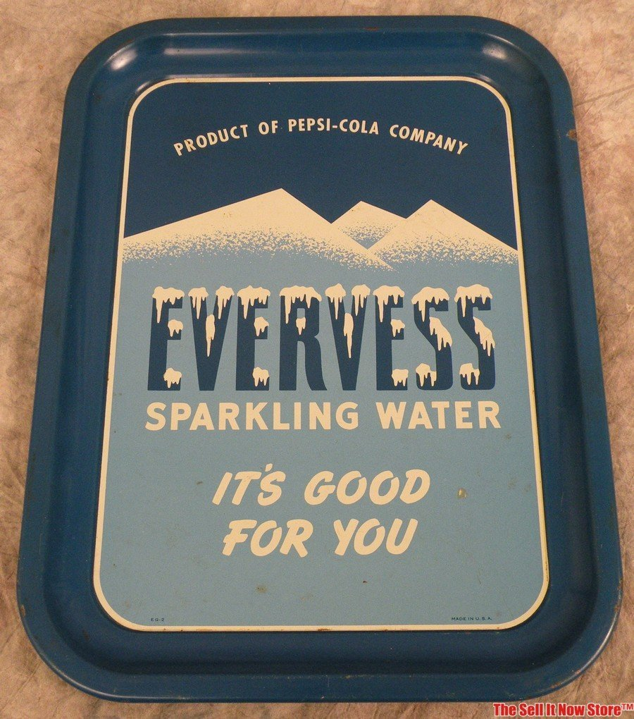 Vintage Pepsi Cola Evervess Sparkling Water Tray