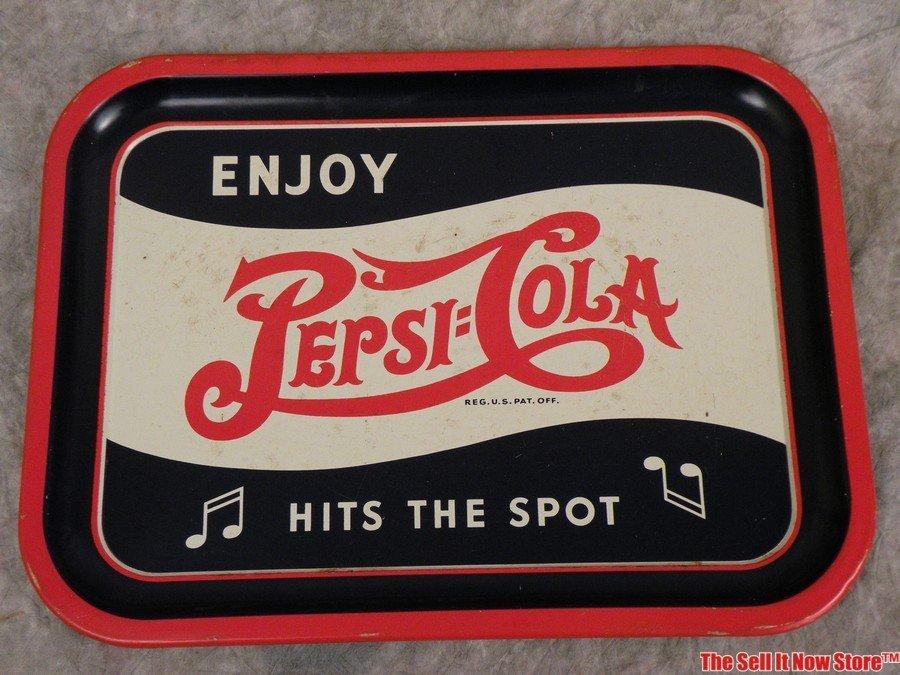 Early 1940s Enjoy Pepsi Hits The Spot Soda Tray