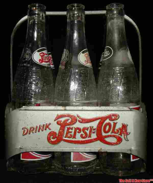 1940s Pepsi Double Dot Metal Carrier 6 Glass Bottles
