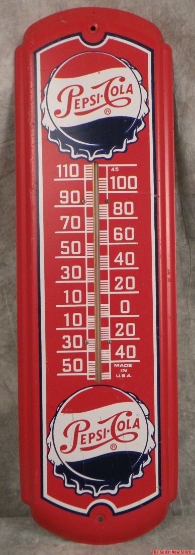 1954 Pepsi Logo Bottle Cap Metal Thermometer Sign