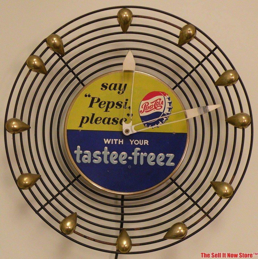 "1950s Say ""Pepsi Please"" Tastee Freeze Teardrop Clock"