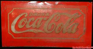 Early Red Metal CocaCola Coke Soda Advertising Sign