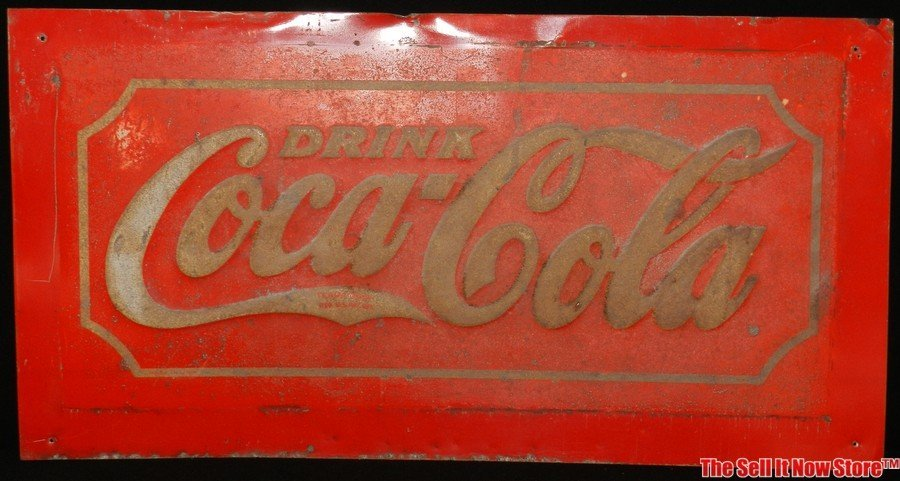 Early Red Metal Coca-Cola Coke Soda Advertising Sign