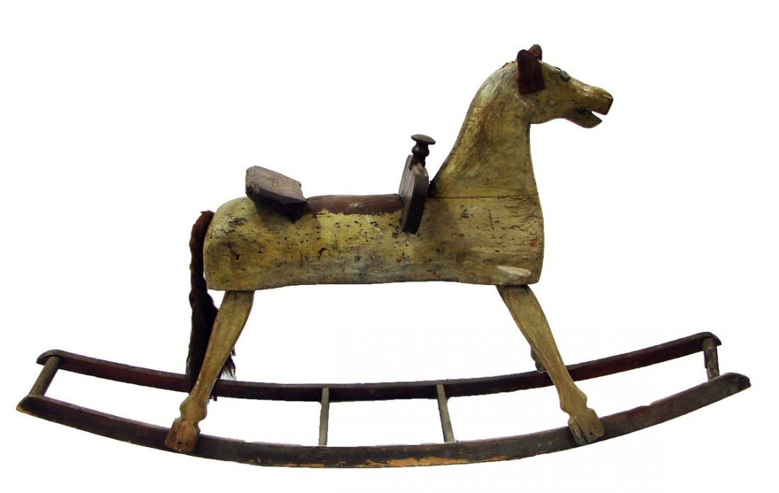 Late 19 C. Antique Hand Carved Wood Rocking Horse