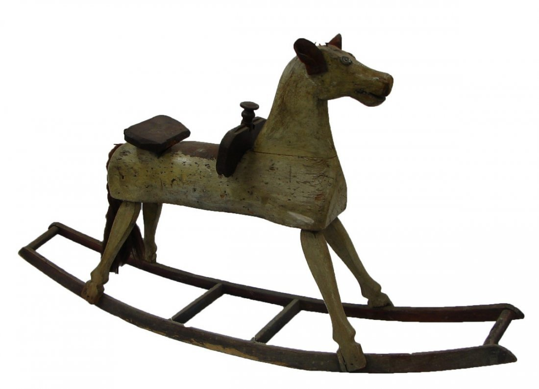 Late 19 C. Antique Hand Carved Wood Rocking Horse - 2
