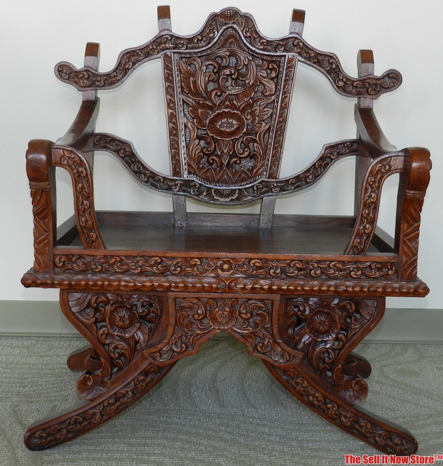 Late 19 C. Chinese Ancestral Carved Wood Throne Chair