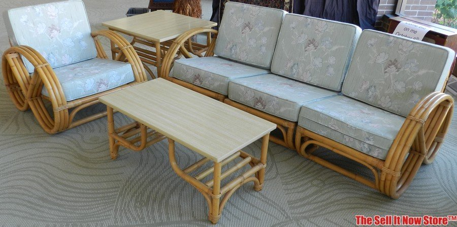 calif asian pretzel side rattan 6 pc furniture