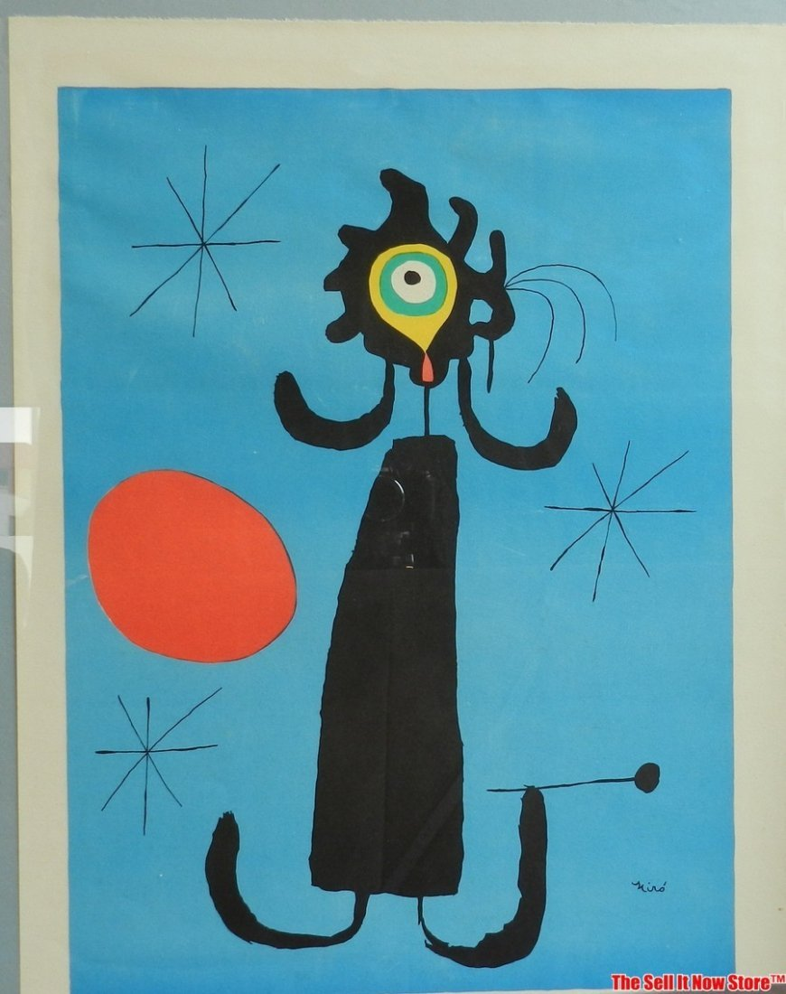 """Joan Miro """"Woman in Front of the Sun"""" Lithograph"""