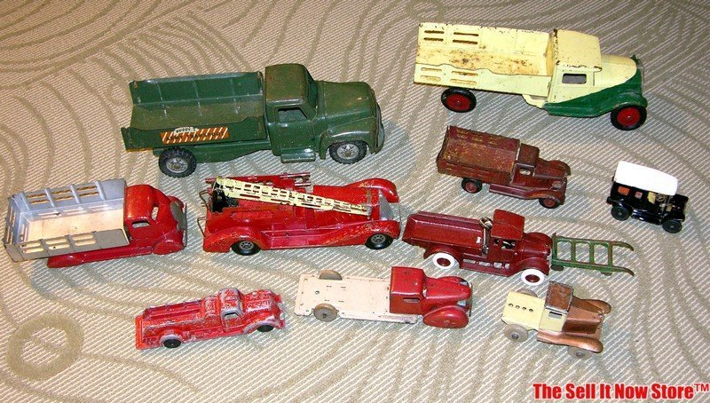 Antique Pressed Tin Toy Trucks Buddy L, others
