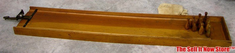 Antique Wood Toy Bowling Game Alley Pins Ball Shooter