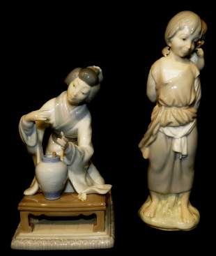 Lladro Japanese Girl Decorating 4840 Gipsy with Brother