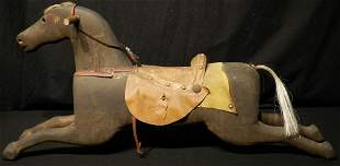 Late 1800s Wood Carved Rocking Horse Leather Seat