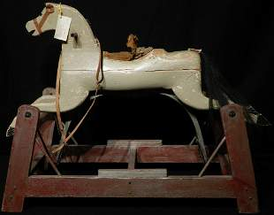 Late 1800s Wood Carved Glider Rocking Horse Hair Tail